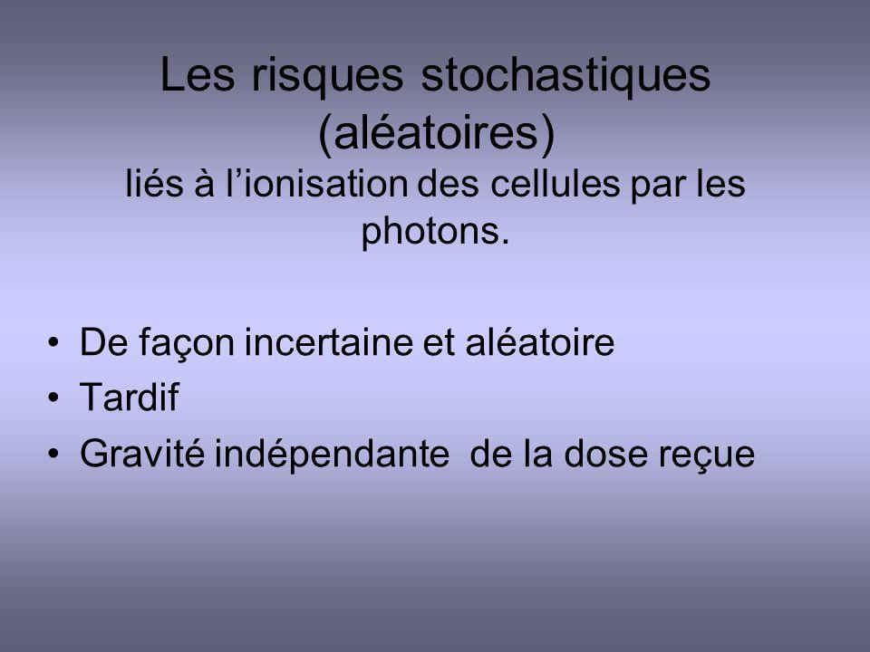 Les risques stochastiques (aléatoires) liés à l'ionisation des cellules par les photons.
