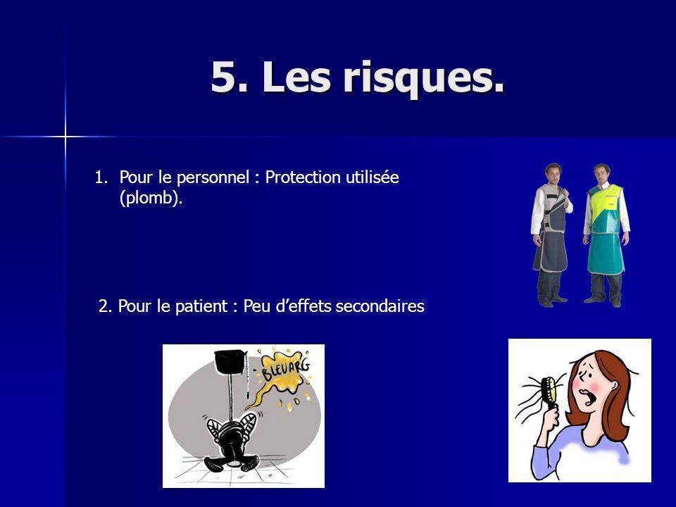 5. Les risques. Pour le personnel : Protection utilisée (plomb).