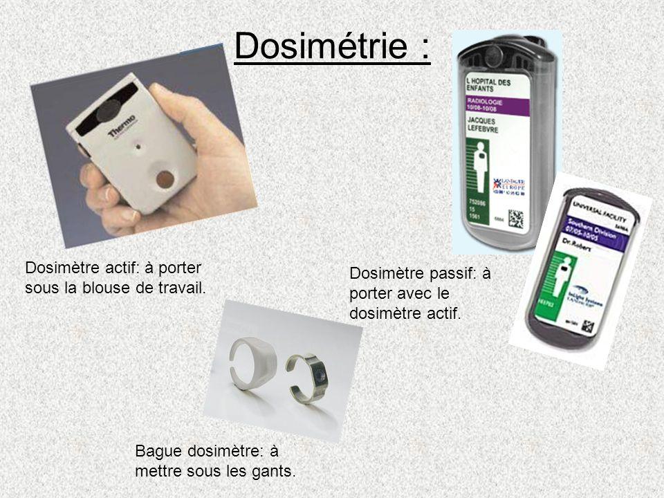 Dosimétrie : Dosimètre actif: à porter sous la blouse de travail.