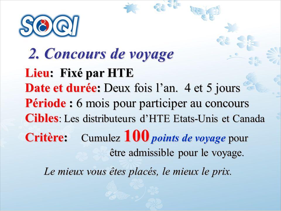 2. Concours de voyage Lieu: Fixé par HTE