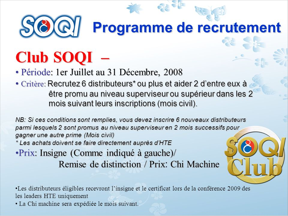 Club SOQI – Programme de recrutement