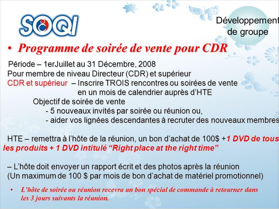 Programme de soirée de vente pour CDR
