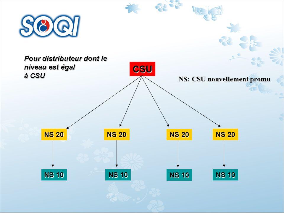 CSU Pour distributeur dont le niveau est égal à CSU