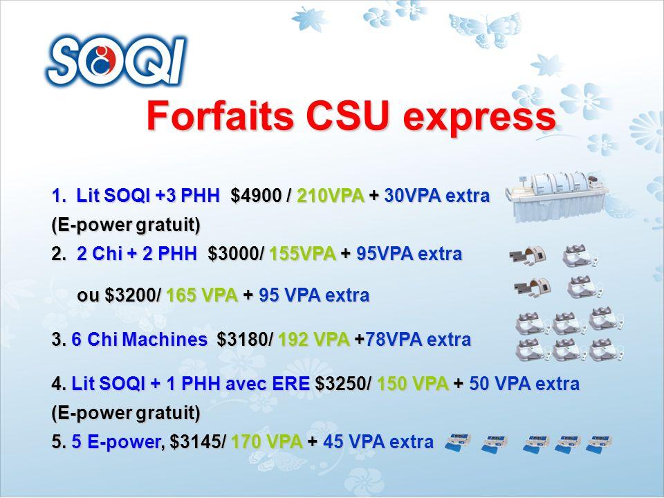 Forfaits CSU express Lit SOQI +3 PHH $4900 / 210VPA + 30VPA extra