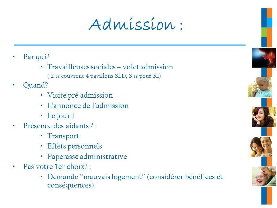 Admission : Par qui Travailleuses sociales – volet admission Quand