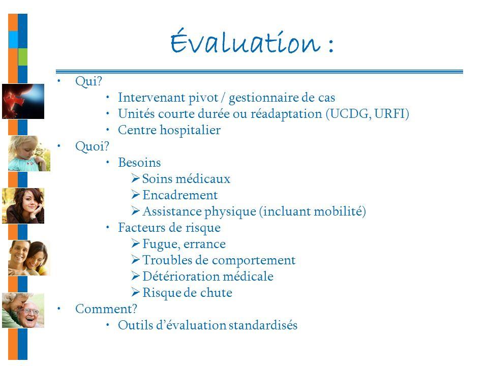 Évaluation : Qui Intervenant pivot / gestionnaire de cas