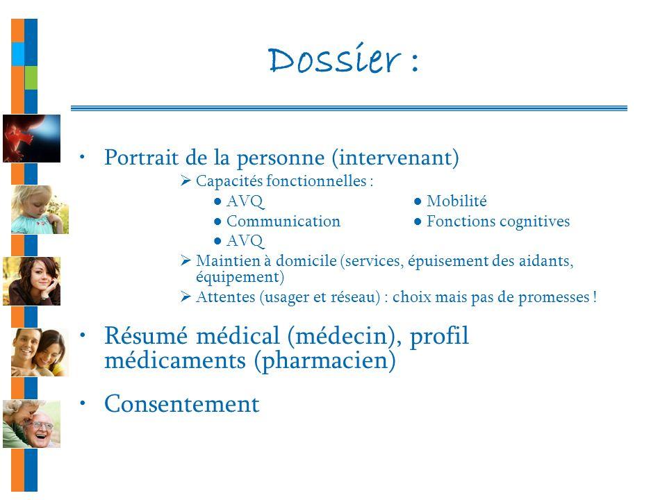 Dossier : Résumé médical (médecin), profil médicaments (pharmacien)