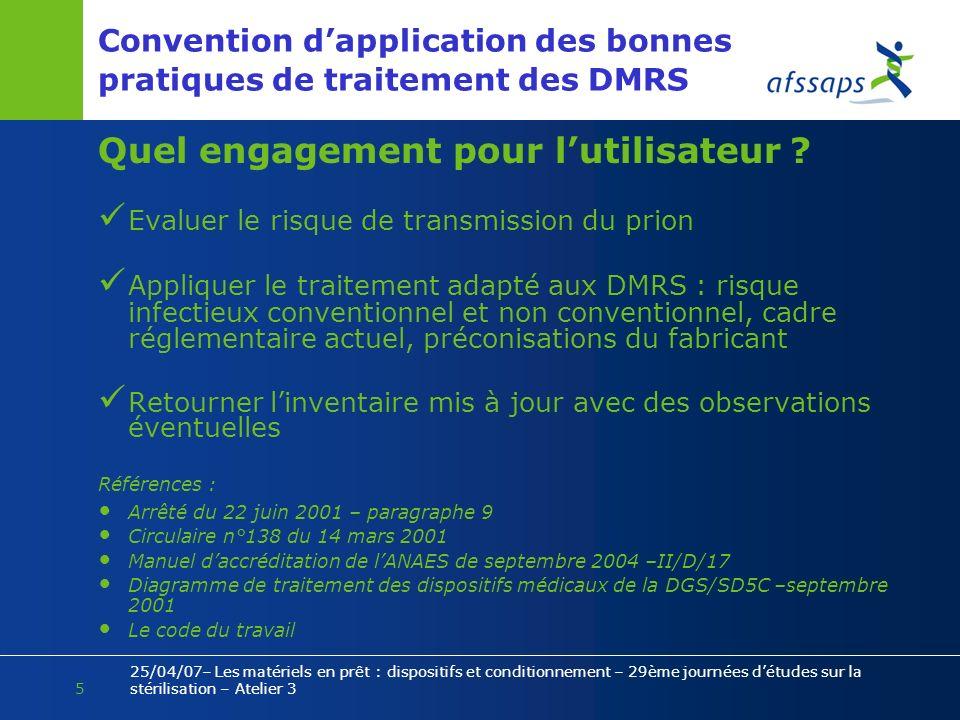 Convention d'application des bonnes pratiques de traitement des DMRS
