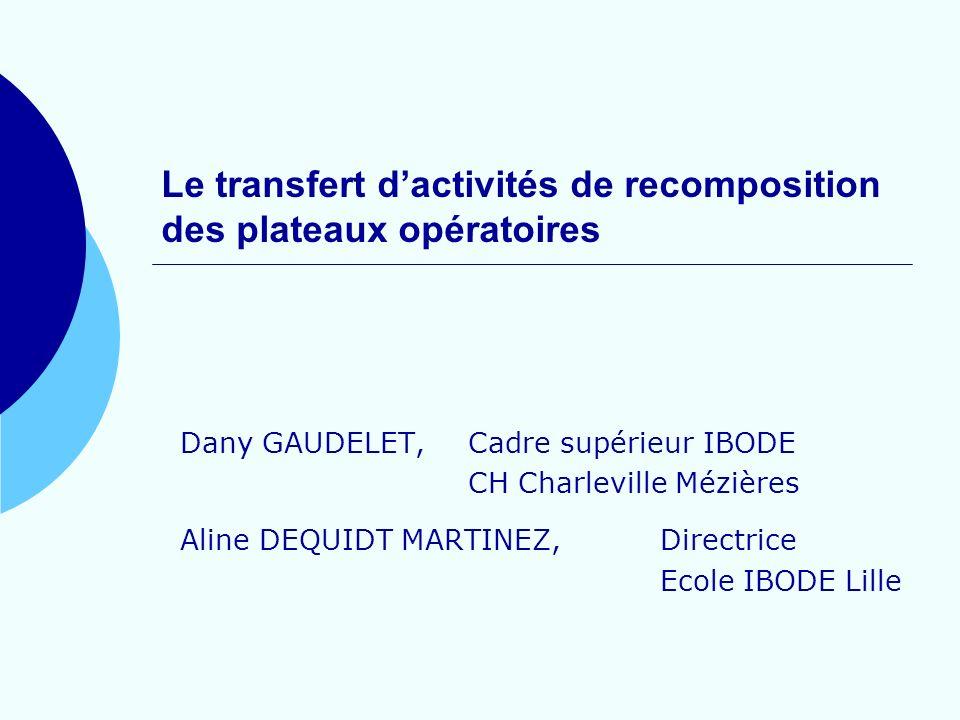 Le transfert d'activités de recomposition des plateaux opératoires