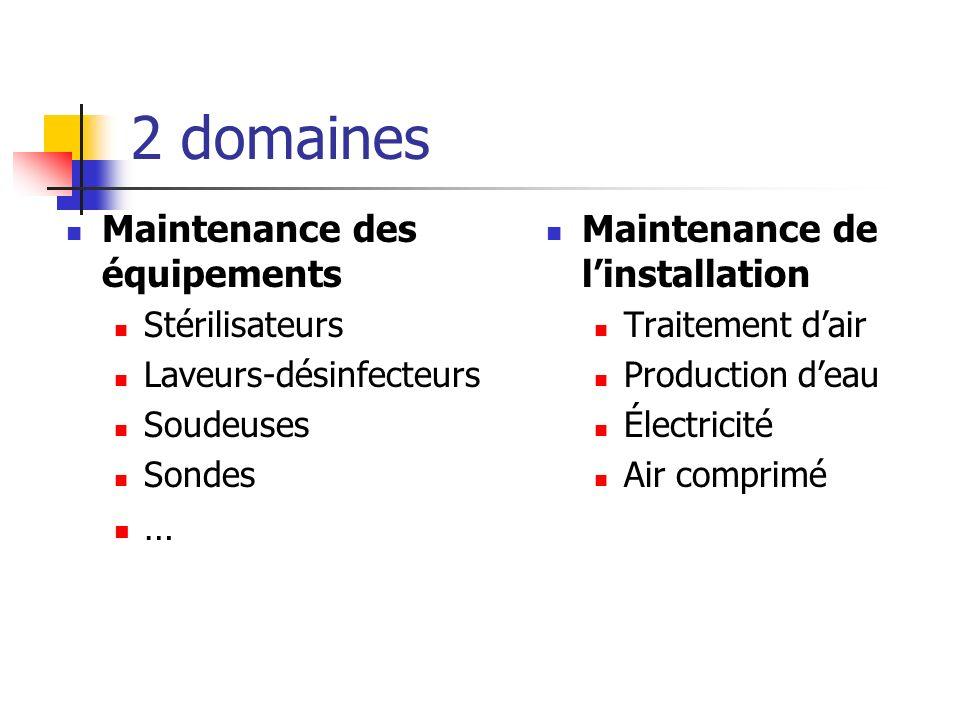 2 domaines Maintenance des équipements … Maintenance de l'installation