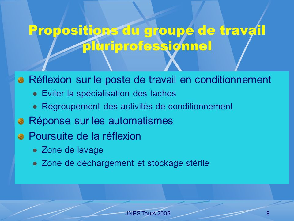 Propositions du groupe de travail pluriprofessionnel