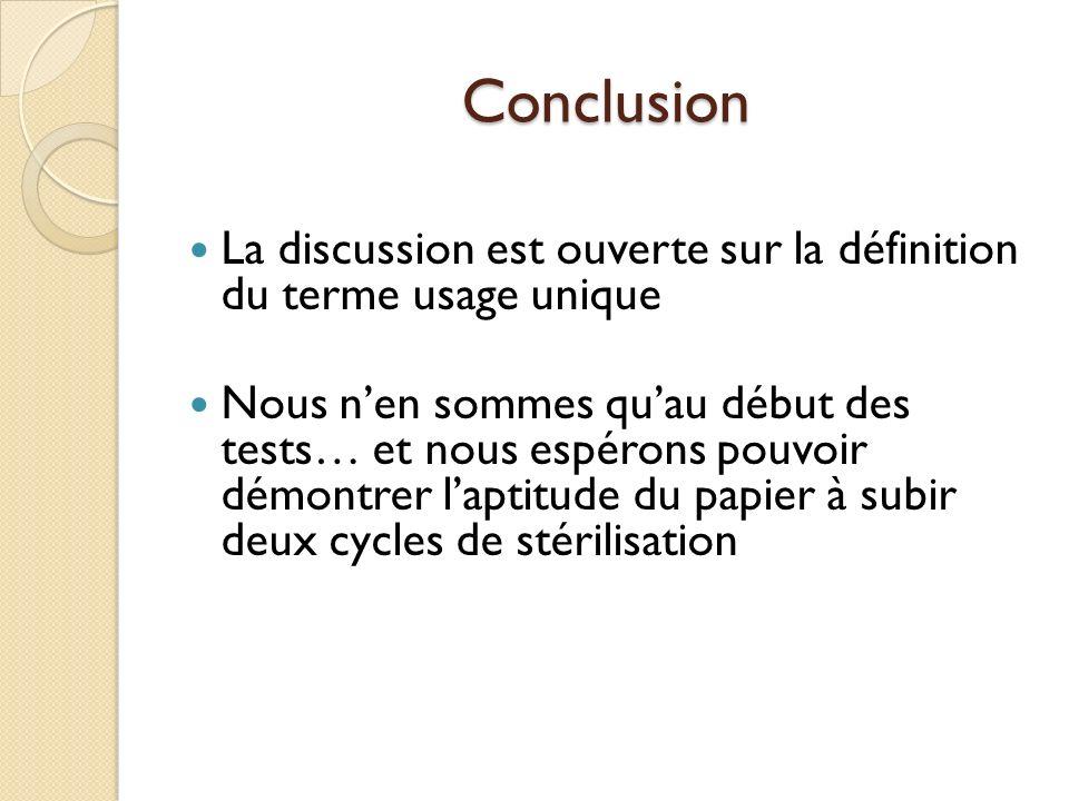 Conclusion La discussion est ouverte sur la définition du terme usage unique.