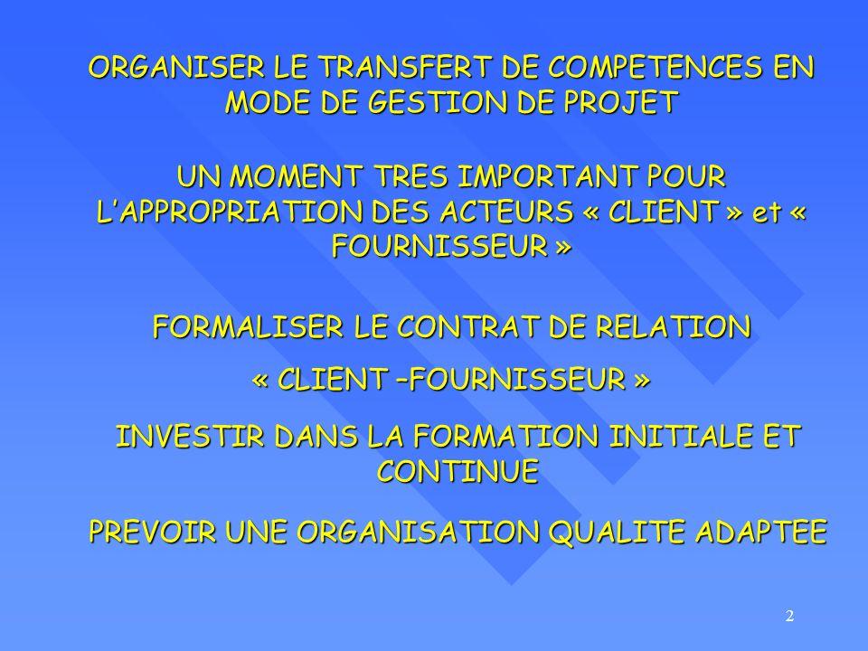 ORGANISER LE TRANSFERT DE COMPETENCES EN MODE DE GESTION DE PROJET