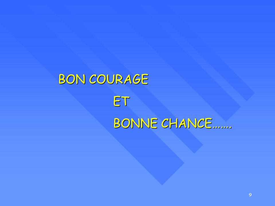 BON COURAGE ET BONNE CHANCE…….