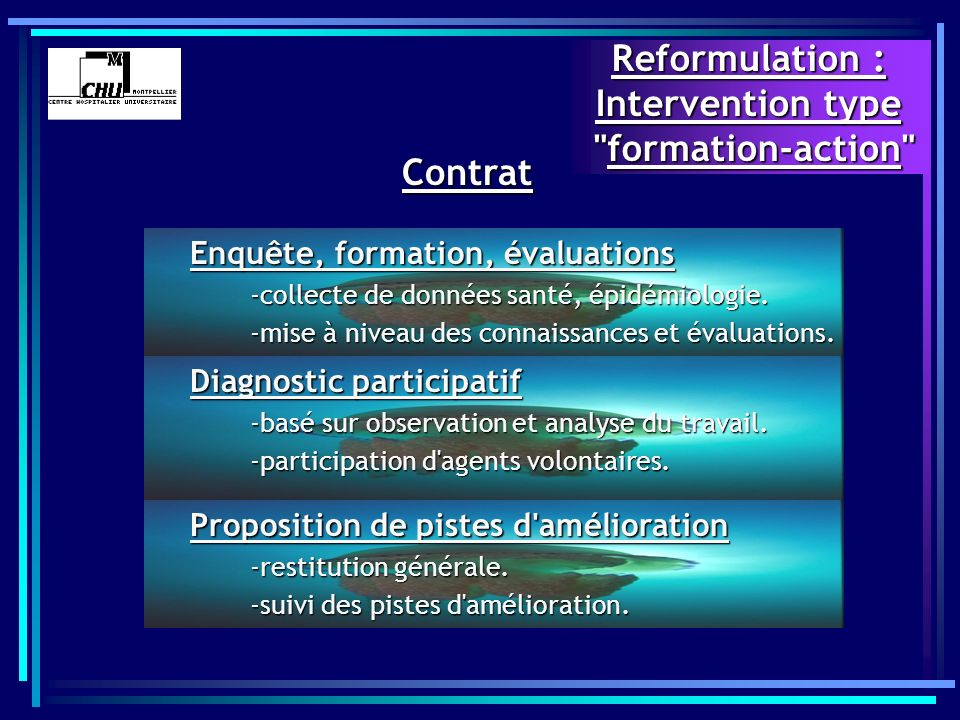 Reformulation : Intervention type formation-action