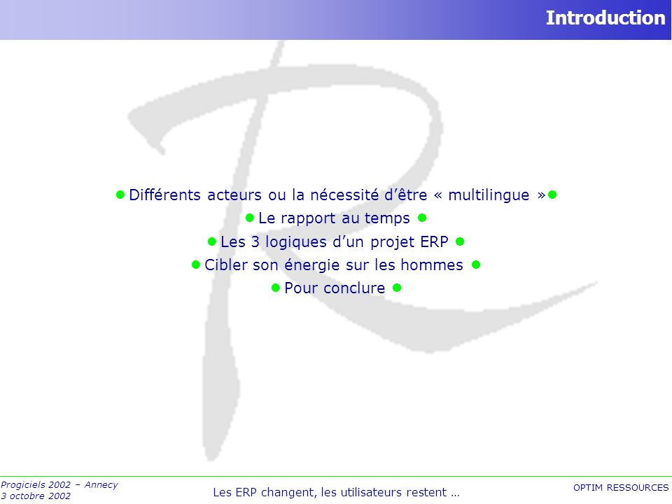 Introduction Différents acteurs ou la nécessité d'être « multilingue » Le rapport au temps  Les 3 logiques d'un projet ERP 