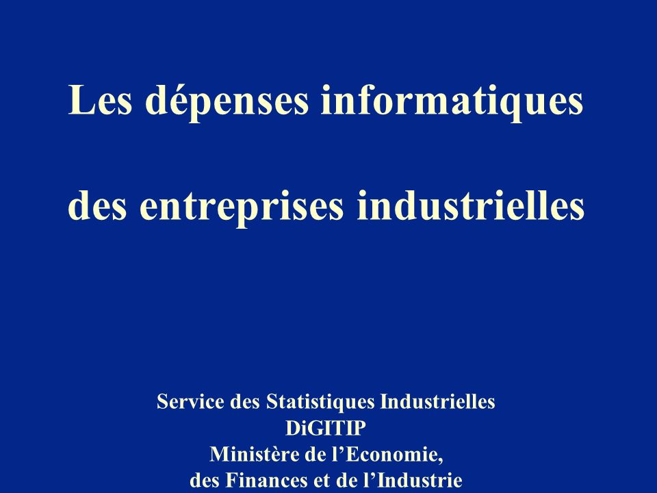 Les dépenses informatiques des entreprises industrielles Service des Statistiques Industrielles DiGITIP Ministère de l'Economie, des Finances et de l'Industrie