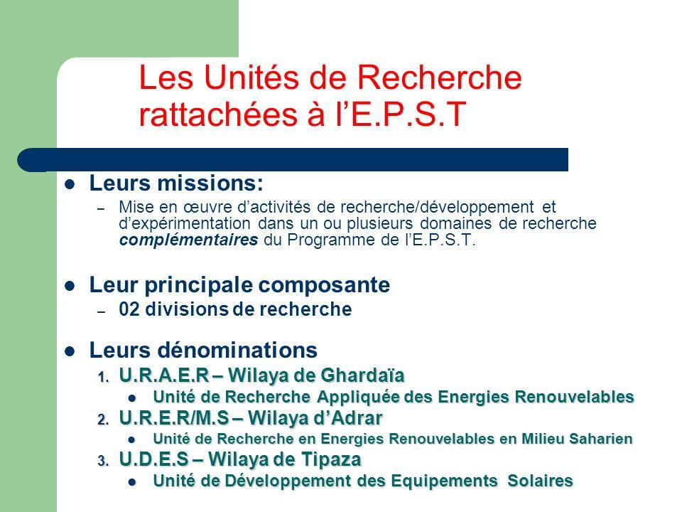 Les Unités de Recherche rattachées à l'E.P.S.T