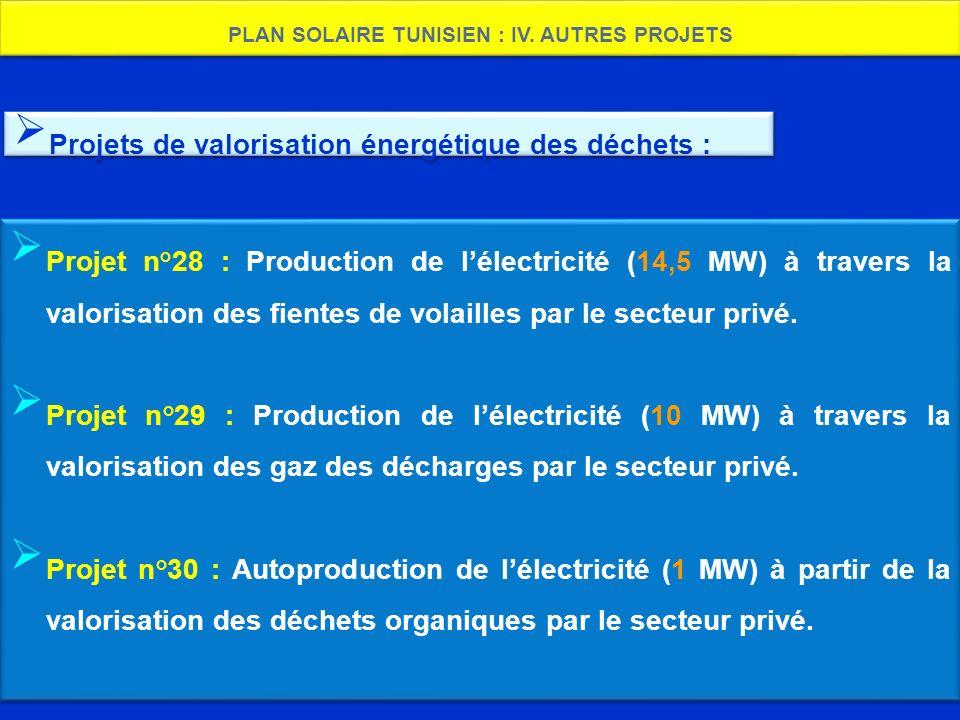 PLAN SOLAIRE TUNISIEN : IV. AUTRES PROJETS