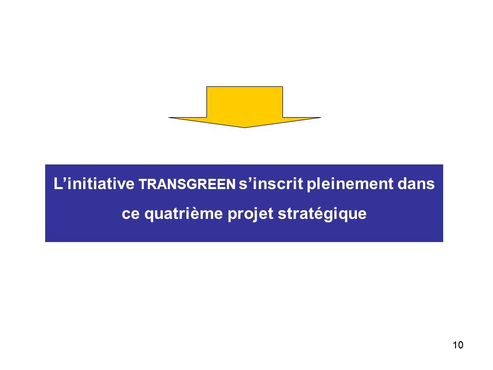 L'initiative TRANSGREEN s'inscrit pleinement dans ce quatrième projet stratégique