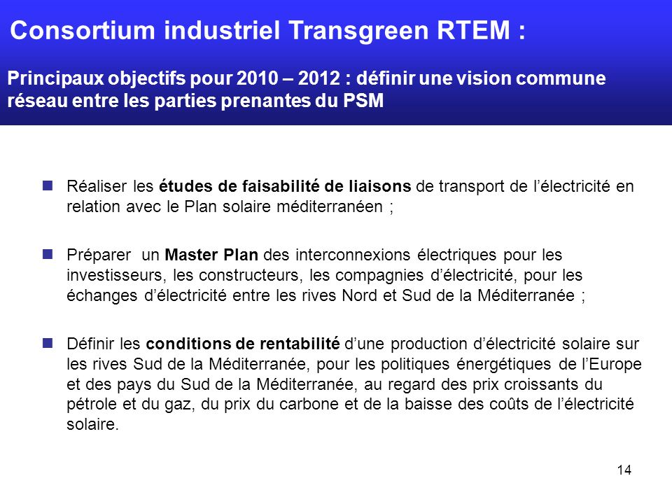 Consortium industriel Transgreen RTEM :