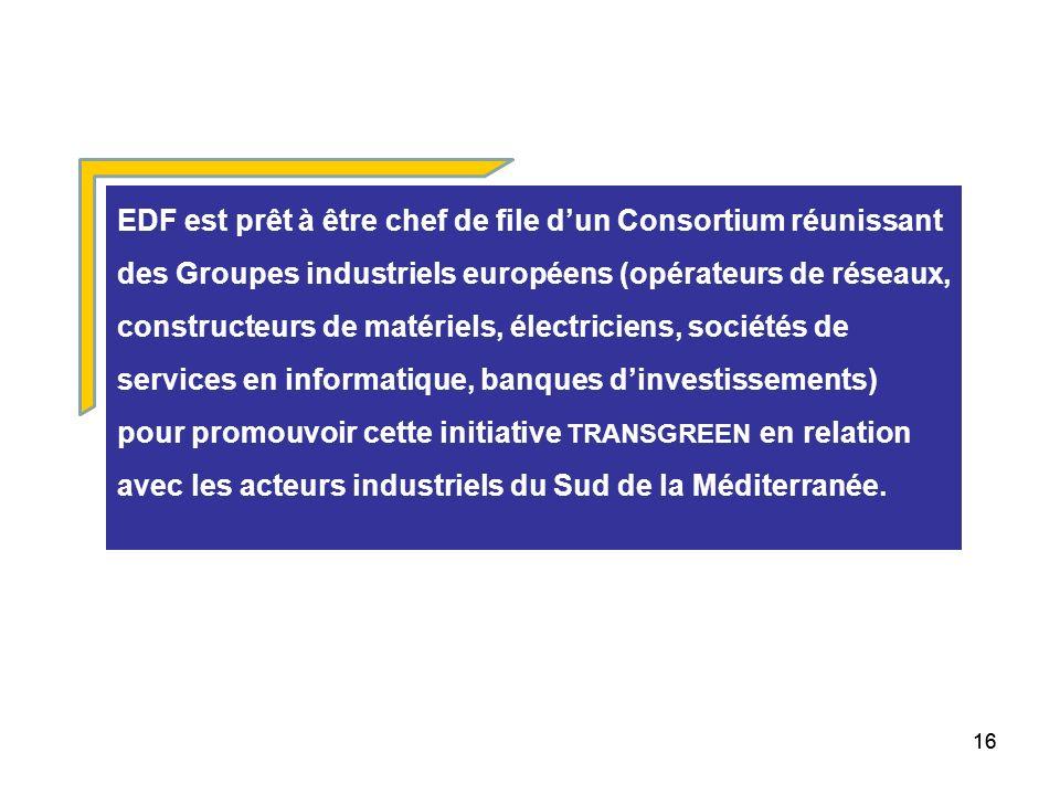 EDF est prêt à être chef de file d'un Consortium réunissant des Groupes industriels européens (opérateurs de réseaux, constructeurs de matériels, électriciens, sociétés de services en informatique, banques d'investissements) pour promouvoir cette initiative TRANSGREEN en relation avec les acteurs industriels du Sud de la Méditerranée.