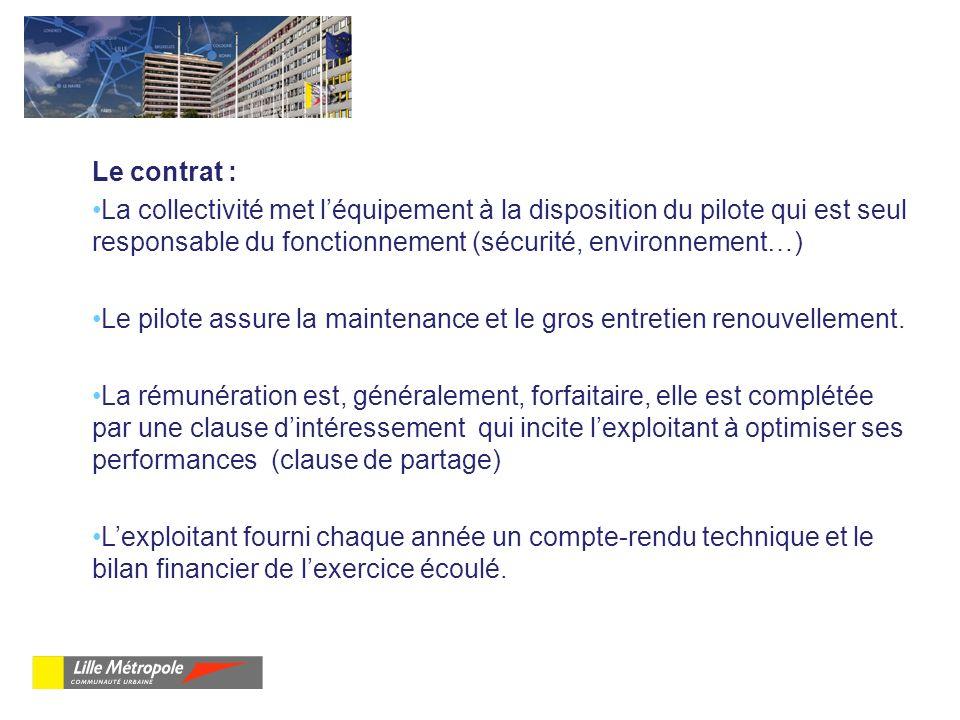 Le contrat : La collectivité met l'équipement à la disposition du pilote qui est seul responsable du fonctionnement (sécurité, environnement…)