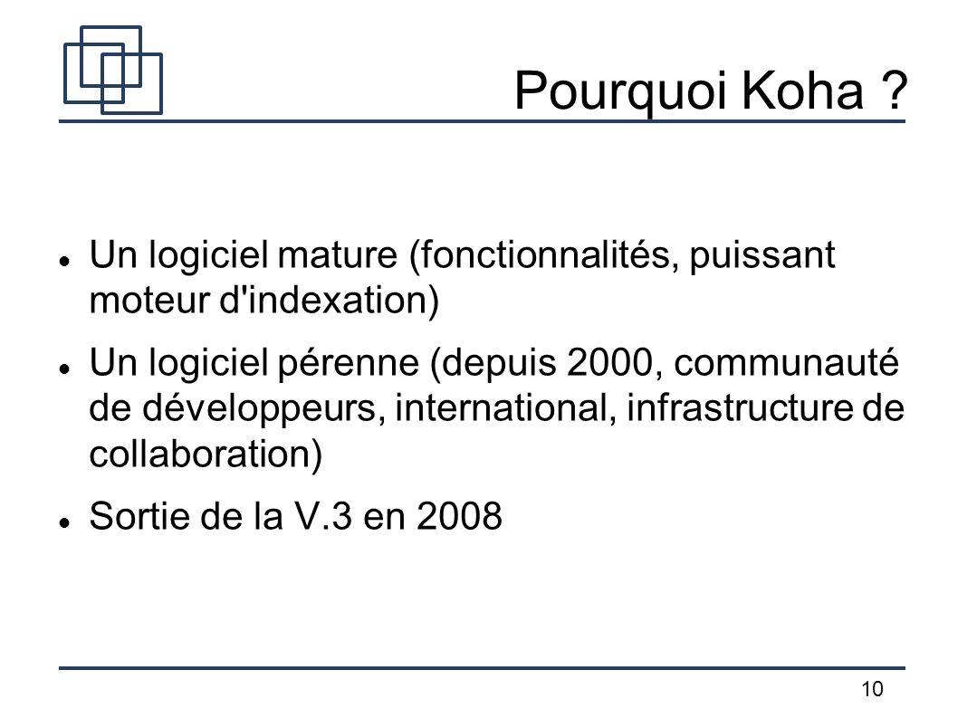 Pourquoi Koha Un logiciel mature (fonctionnalités, puissant moteur d indexation)