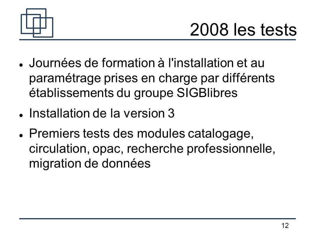 2008 les tests Journées de formation à l installation et au paramétrage prises en charge par différents établissements du groupe SIGBlibres.