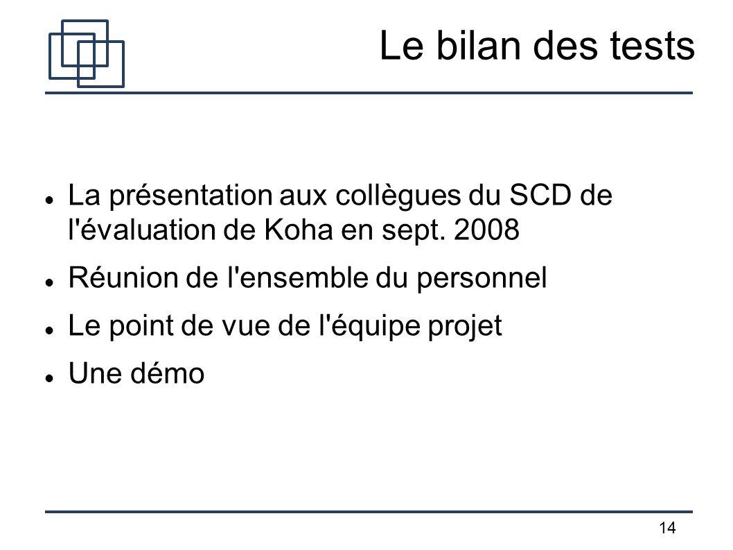 Le bilan des tests La présentation aux collègues du SCD de l évaluation de Koha en sept. 2008. Réunion de l ensemble du personnel.