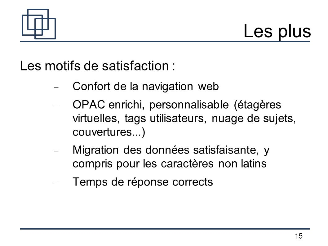 Les plus Les motifs de satisfaction : Confort de la navigation web