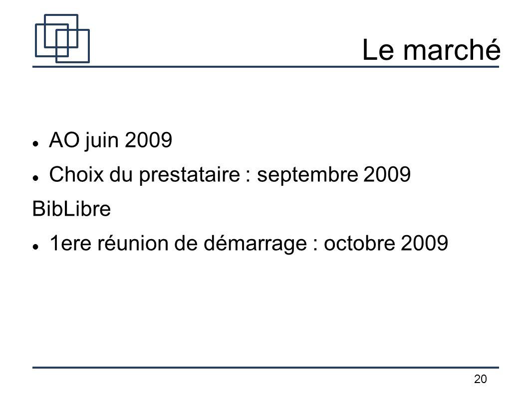 Le marché AO juin 2009 Choix du prestataire : septembre 2009 BibLibre