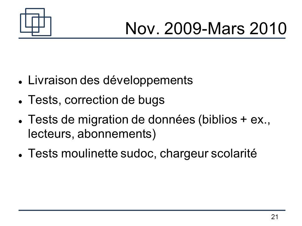 Nov. 2009-Mars 2010 Livraison des développements