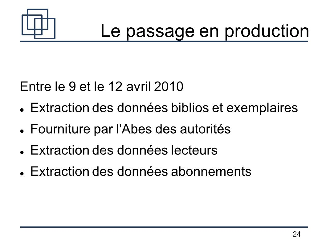 Le passage en production