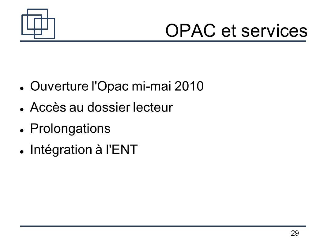 OPAC et services Ouverture l Opac mi-mai 2010 Accès au dossier lecteur
