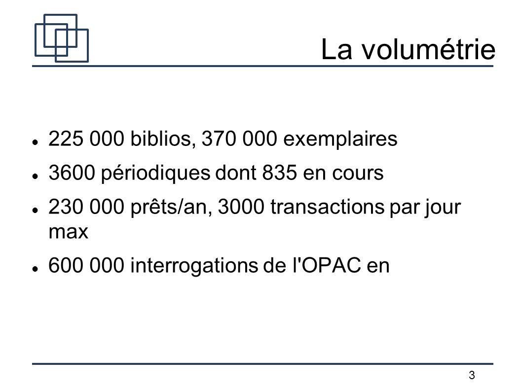La volumétrie 225 000 biblios, 370 000 exemplaires