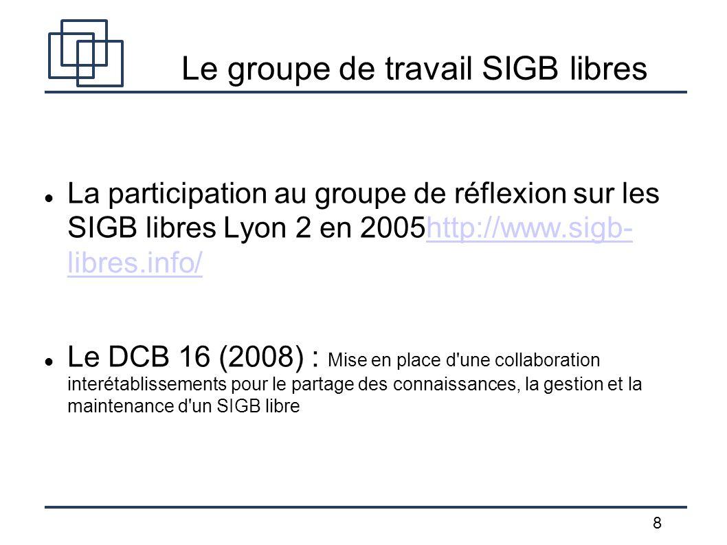 Le groupe de travail SIGB libres