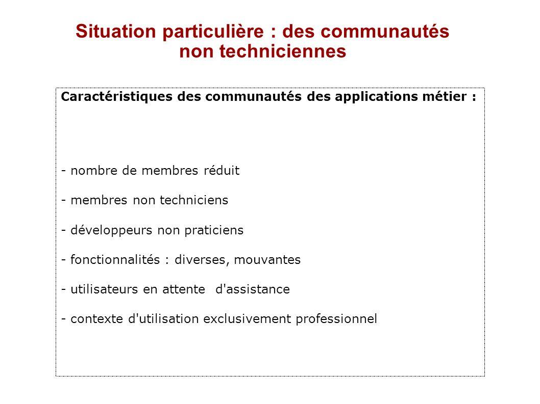 Situation particulière : des communautés non techniciennes