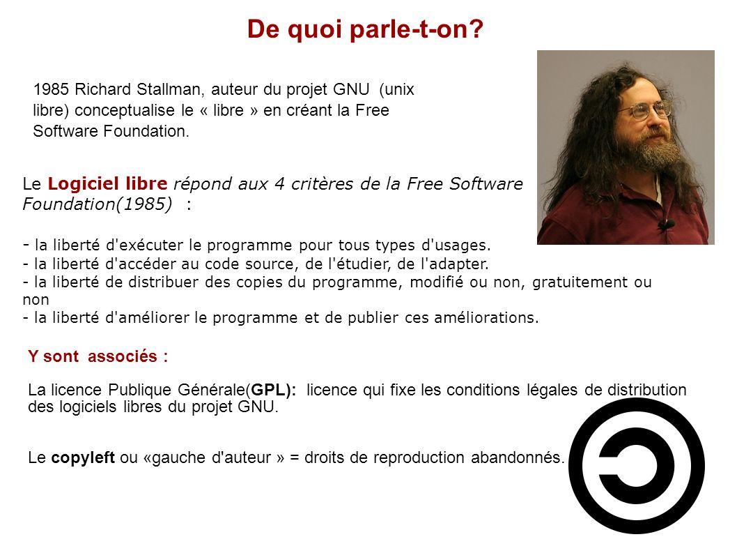De quoi parle-t-on 1985 Richard Stallman, auteur du projet GNU (unix libre) conceptualise le « libre » en créant la Free Software Foundation.
