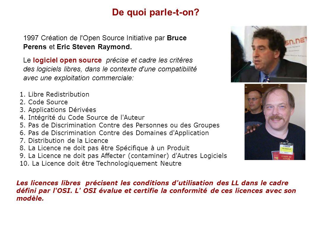 De quoi parle-t-on 1997 Création de l Open Source Initiative par Bruce Perens et Eric Steven Raymond.