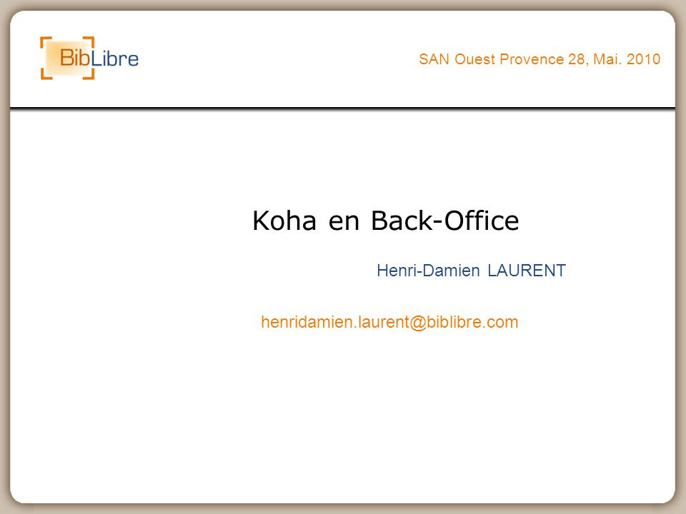 Koha en Back-Office Henri-Damien LAURENT