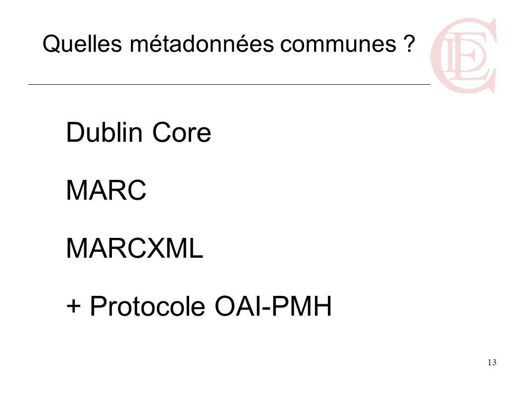 Dublin Core MARC MARCXML + Protocole OAI-PMH