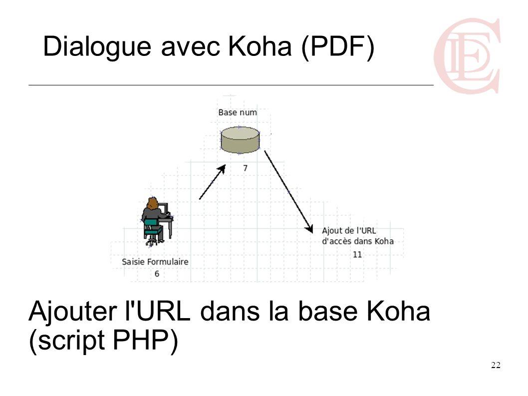 Ajouter l URL dans la base Koha (script PHP)