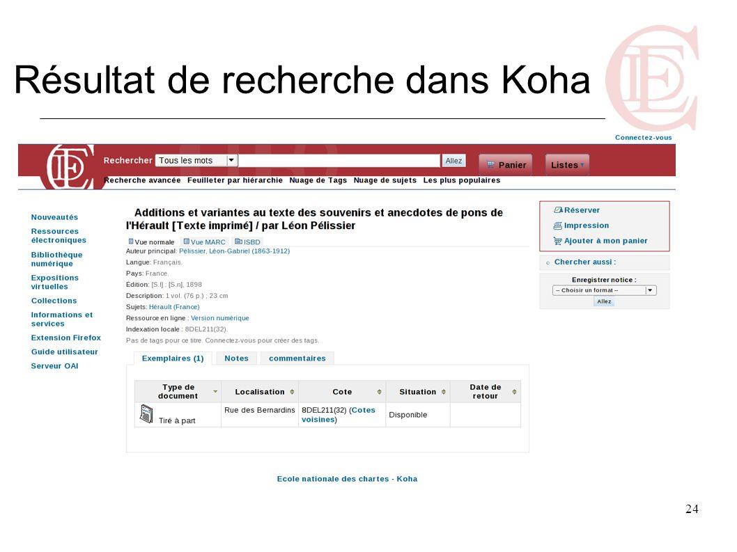 Résultat de recherche dans Koha
