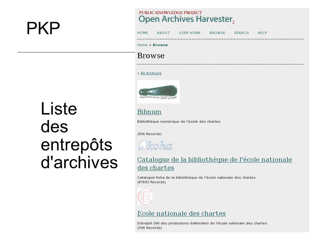 Liste des entrepôts d archives