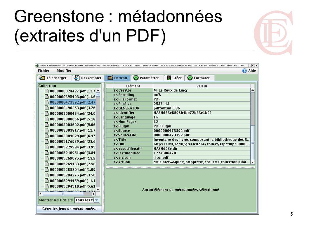 Greenstone : métadonnées (extraites d un PDF)
