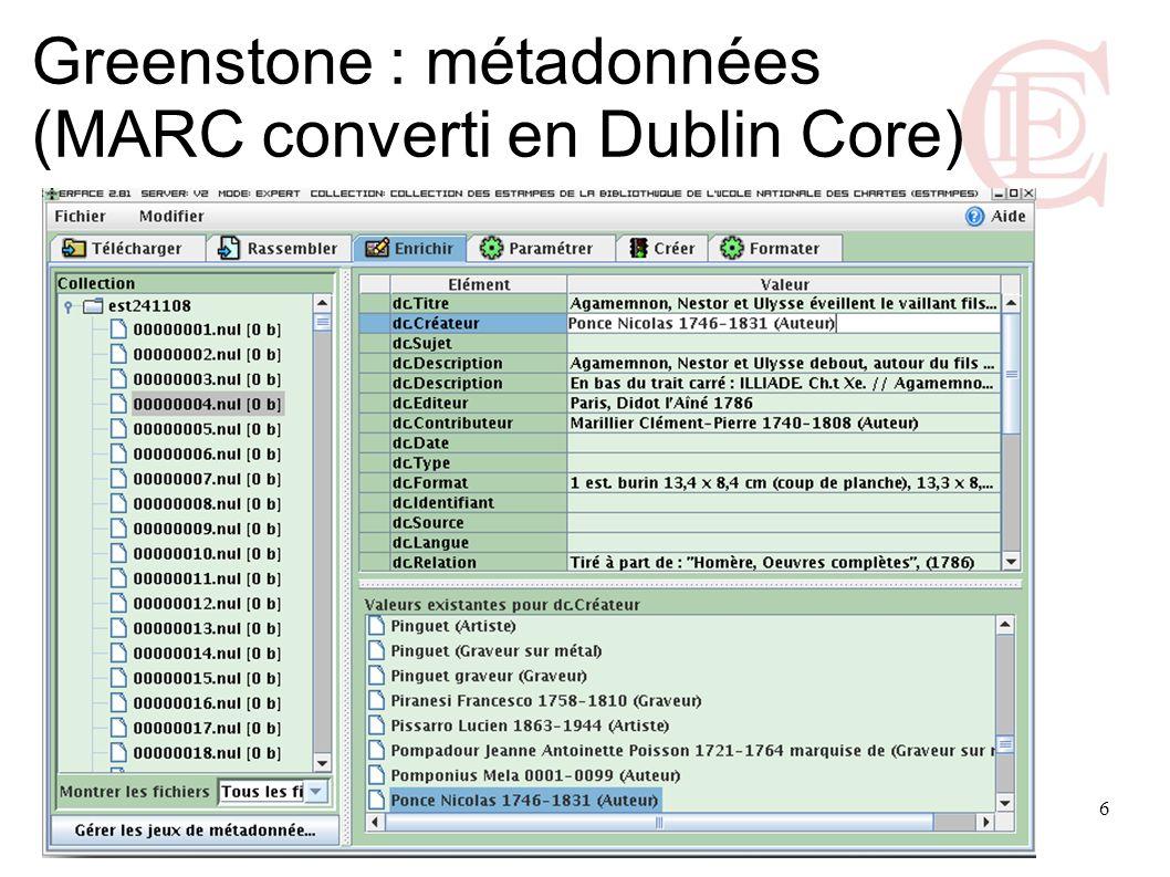 Greenstone : métadonnées (MARC converti en Dublin Core)