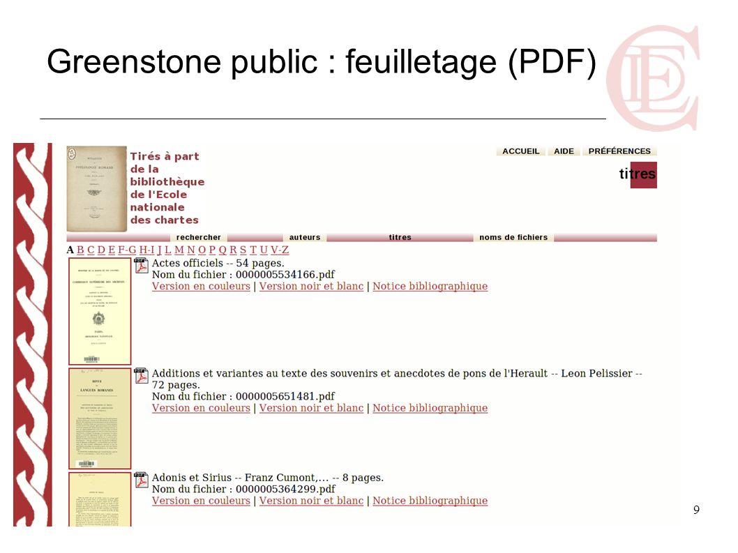 Greenstone public : feuilletage (PDF)