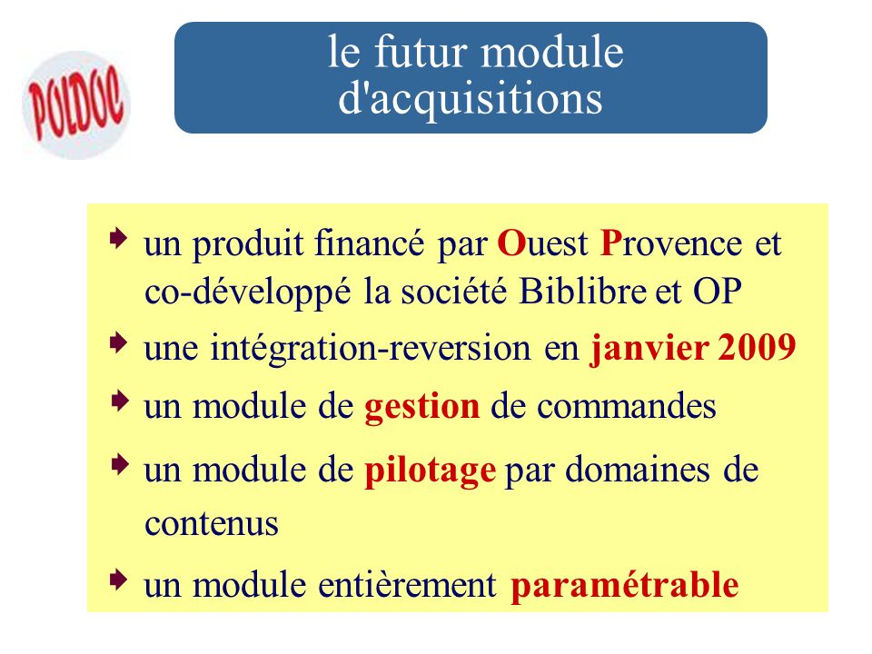 le futur module d acquisitions