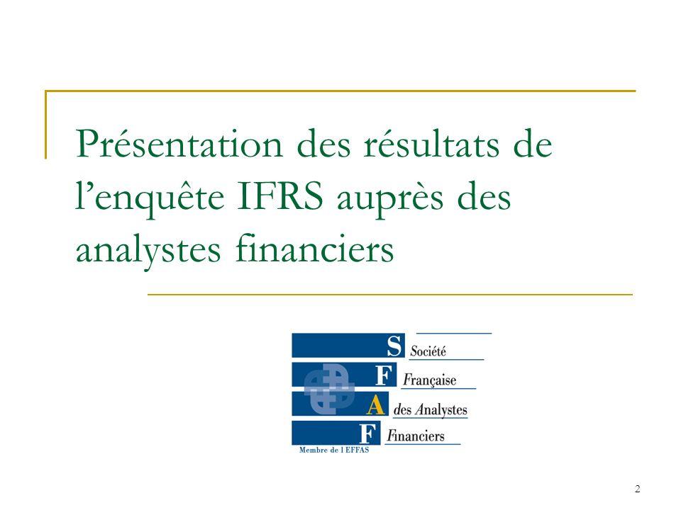 Présentation des résultats de l'enquête IFRS auprès des analystes financiers
